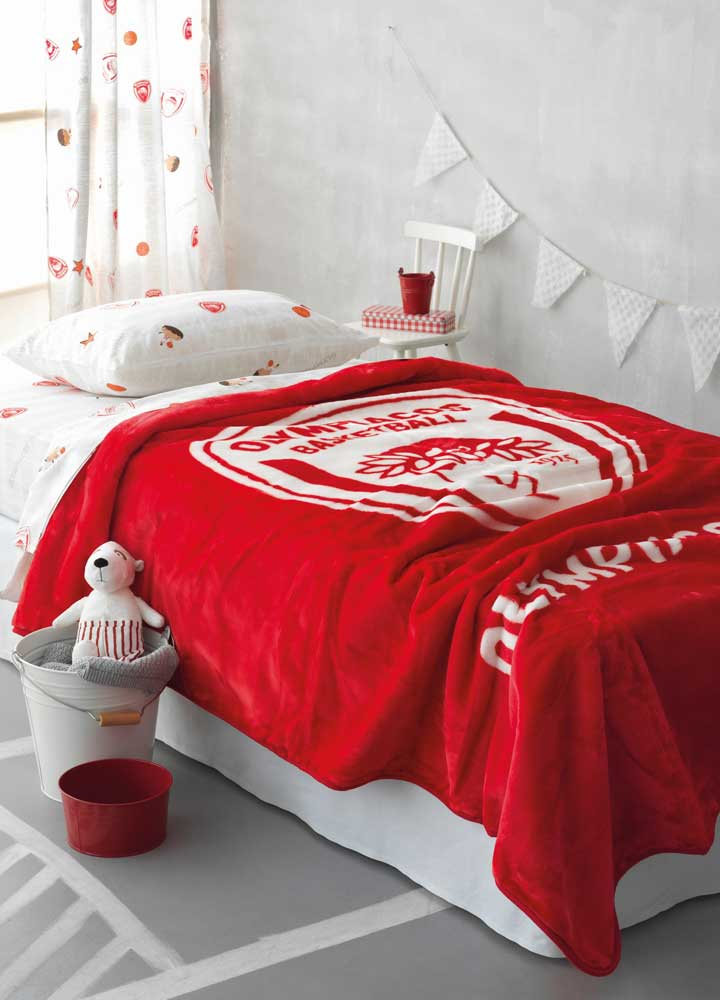 Κουβέρτα Μονή Βελουτέ Palamaiki Official Team Licenced Line Olympiacos Velour